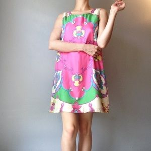 vintage silk pink scarf baroque print dress